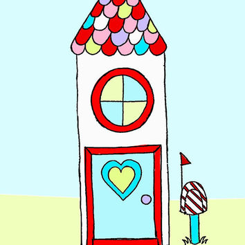 Love at Home little house kids wall art children by wonderlaneart