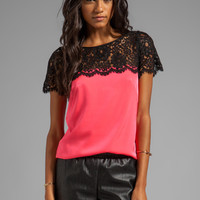 Milly Floral Scalloped Lace Mila Top in Black/Fluo Coral from REVOLVEclothing.com