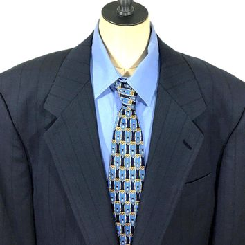 Jhane Barnes Blue Shadow Striped One Button Wool Suit Jacket Blazer Men 43L - Preowned