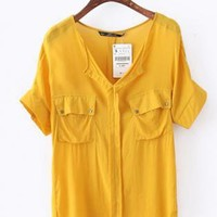 Dual Port V Neck Bat Chiffon Shirt Yellow  S001036