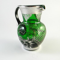 Vintage Venetian Glass Jug with Silver Overlay circa 1950
