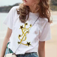 YSL Gold Embroidered T-Shirt