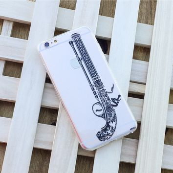 Henna Antique Pistol - Clear TPU Case Cover Phone Case