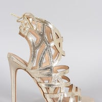 Liliana Metallic Strappy Back Corset Lace Up Stiletto Heel