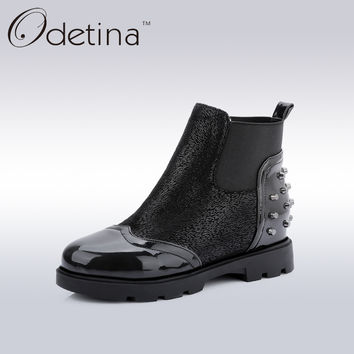 Odetina Round Toe Women Rivets Punk Boots Ladies Patent Leather Chelsea Boots Low Heel 2017 Spring Women's Casual Shoes Big Size