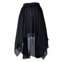 TopTie Flare High Low Skirt, Chiffon Hi-Low Skirt, Tulip Skirt BLACK