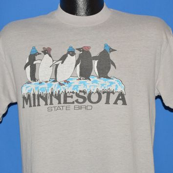 90s Minnesota Ice Skating Penguins In Beanies t-shirt Medium