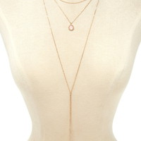 Layered Lariat Charm Necklace
