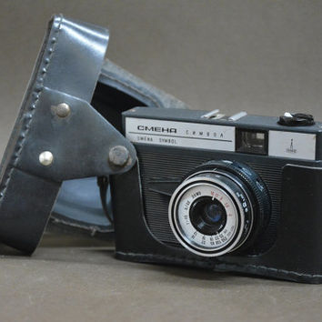 Vintage rare Soviet Camera SMENA Symbol, Soviet Photo Camera, Vintage Camera, Black Leather Case,Old Working 35mm Film Viewfinder Camera