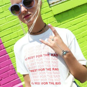 """""""No Rest For The Rad"""" Print Letter T-Shirt"""