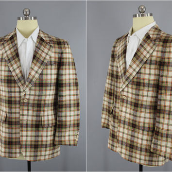 Vintage 1970s Blazer / 70s Jacket / 1960s Sport Coat / Preppy Brown & Green Plaid Golf Blazer / Corbin Gentleman's Clothing / Size 40