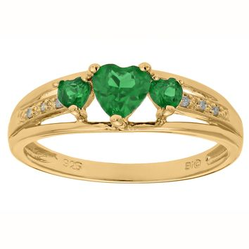 .70 Ct Triple Heart Green Emerald and .018 cttw Diamond Gold Plated Silver Ring