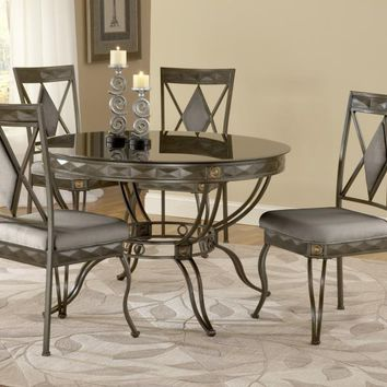 Bernards 4230 Mystic Black Glass/Bronze Dining Set