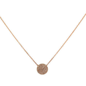 "10mm Round Disc Charm with 0.20ct Pave Diamonds in 14K Rose Gold Chain Necklace - 18"" - CUSTOM MADE"