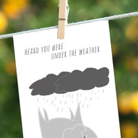 Funny Get Well Card, Elephant Under the Weather