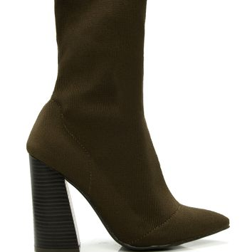 Sock It To Me Bootie - Olive