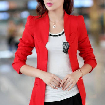 New Womens Blazers  Solid Slim Ladies Blazer Single Button Women Suits Five Colors Red / Black Blazers