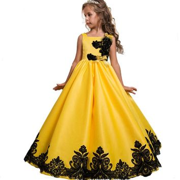6-16 Yrs Brand Girls Dress Lace Embroidery Teenager Prom Party Dress Kids Princess Style Pageant Evening Formal Gowns for Girls