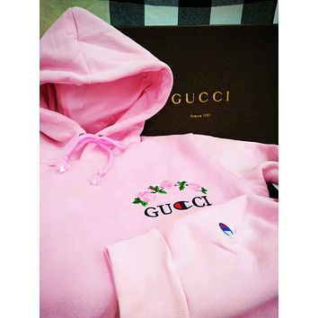 GUCCI New fashion autumn and winter bust embroidery floral letter women men long sleeve hooded sweater Pink