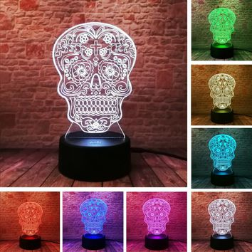 Skull 3D Hologram Flower Cross Table Lamp 7 Color Touch Remote Nightlight