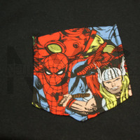 Marvel Superheroes Tribal Pocket Pocket T-Shirt