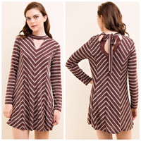 Striped Shift Dress with Cut Outs in Brown