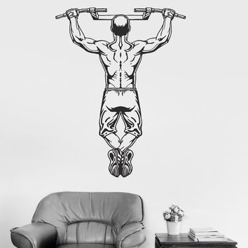 Vinyl Wall Decal Gym Fitness Workout Bodybuilding Man Pulling Up Stickers Unique Gift (ig3181)