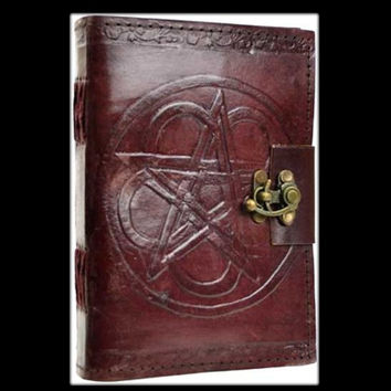 Pentagram Genuine Leather Blank Journal with cord
