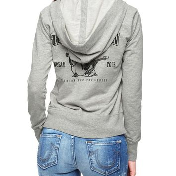 True Religion Buddha French Terry Womens Hoodie - Heather Grey