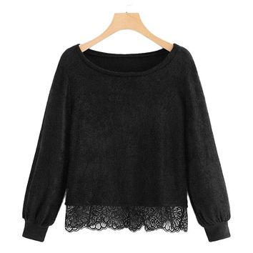 Lace Trim Thin Long Sleeve