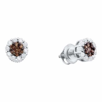 14k White Gold Women's Cognac-brown Color Enhanced Diamond Halo Flower Cluster Screwback Stud Earrings 1-2 Cttw - FREE Shipping (USA/CAN)