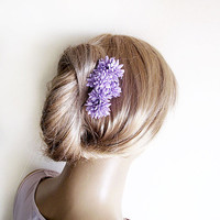 Wedding Flower Hair Combs, Lilac Flowers, Hair Pin Clips, Woman Hair Accessories, Women's Hair Style