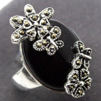 005 LUXURY NATURAL MARCASITE BLACK AGATE ONYX SILVER RING SIZE 7/8/9/10 can choose