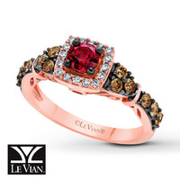 Le Vian Garnet Ring 1/2 ct tw Diamonds 14K Strawberry Gold
