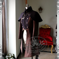 Beyond the End of Time, Steampunk Dandy Double-Breasted Suedette Jacket & Detachable Cape*FREE EXPRESS SHIPPING