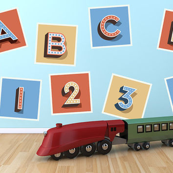 Childrens Retro Alphabet and Number Blocks Vintage Printed Removable Wall Vinyl letters decals stickers kids children boys girls play room