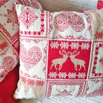 Christmas pillow, jacquard fabric cover, Alsacian christmas ornament, Holidays decor, french handmade cushion, throw, pillow cover.