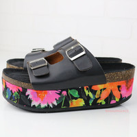 Falling Floral Black Two Buckle Platform Sandals