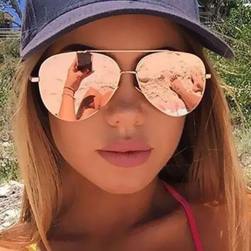 Aviator Sunglasses, Gorgeous Rose Gold Eyewear, Mirror Lens, Designed to fit small faces
