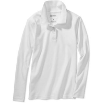 George Girls' School Uniform Long Sleeve Polo, Med Plus (7.5-8.5), Arctic White