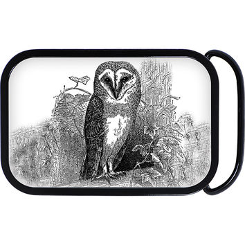 Black and White Owl Belt Buckle