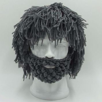 BBYES Cool Gifts Beard Hats Handmade Knit Warm Caps Halloween Funny Party Beanies for Mad Scientist Caveman Men Women New Winter