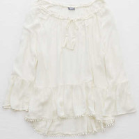 Aerie Ruffle Sleeve Peasant Top, Soft Muslin