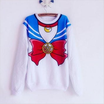 The new 2017 Sailor Moon shirt Harajuku kawaii cute fake imitation top role-playing sailor costume free shipping SALMOPH