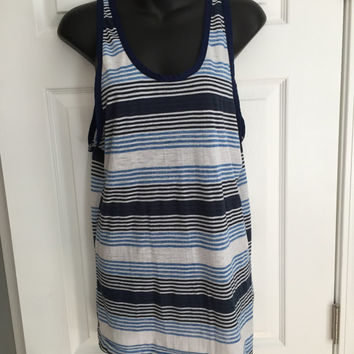 Vintage 1980s Sears blue white striped tank top super thin
