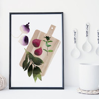 Fruit and vegetable wall art, kitchen art print , food poster, watercolor art print, home wall decor, food art, minimal, simple