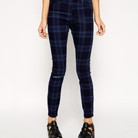 ASOS Ridley Skinny Ankle Grazer Jeans in Tartan Print with Ripped Knee