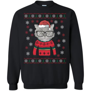 Funny Cat Head with Glasses Ugly Christmas Sweatshirt