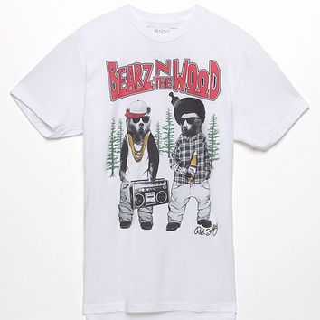 Riot Society Bearz In The Woods T-Shirt - Mens Tee - White