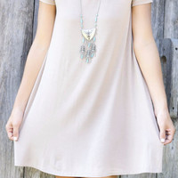 Keep It Casual Taupe Short Sleeve Jersey Shirt Dress